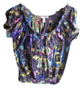 One Step Ahead Colorful Rainbow Dressy Top Gray/multicolored