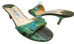 Jimmy Choo Watersnake Slides Green Sandals