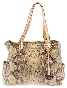Michael by Michael Kors Python.embossed Leather Tote in Grey