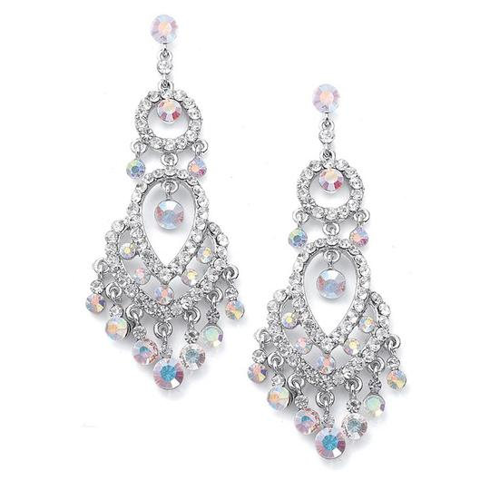 Mariell Silver Iridescent Crystal Chandelier 3199e Earrings