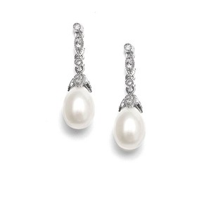 Mariell Freshwater Pearl Vintage Bridal Earrings 343e