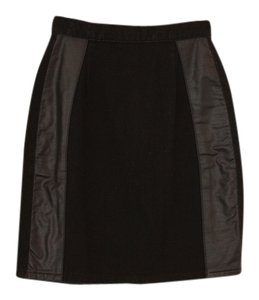 Leather Vintage Denim Skirt Black