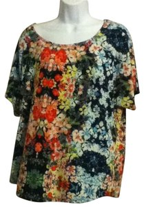 1x Floral Polyester No Iron Top Multi-color