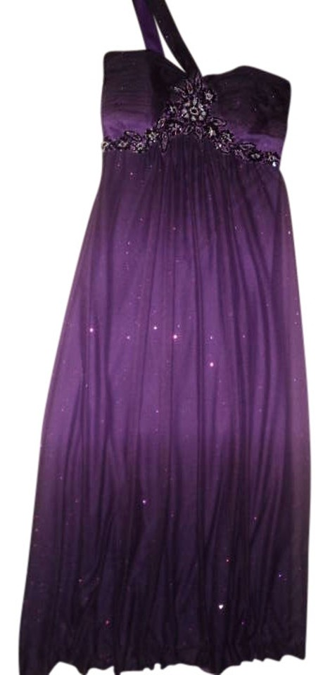 0ff2fcbb102 Xscape Royal Purple Ombre Prom Empire Waist Glitter One Shoulder Elegant  Evening Full Length Formal Dress