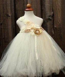 Ivory Custom Made Ivory Flower Girl Dress - Flower Girls Tutu Dress Handmade - Infant To 8 Years Dress