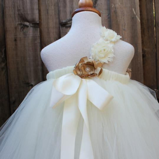 Ivory Tulle Custom Made Flower Girl Flower Girls Tutu Handmade - Infant To 8 Years Formal Bridesmaid/Mob Dress Size OS (one size)