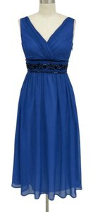 Royal Blue Chiffon Goddess Beaded Waist Formal Dress Size 16 (XL, Plus 0x)