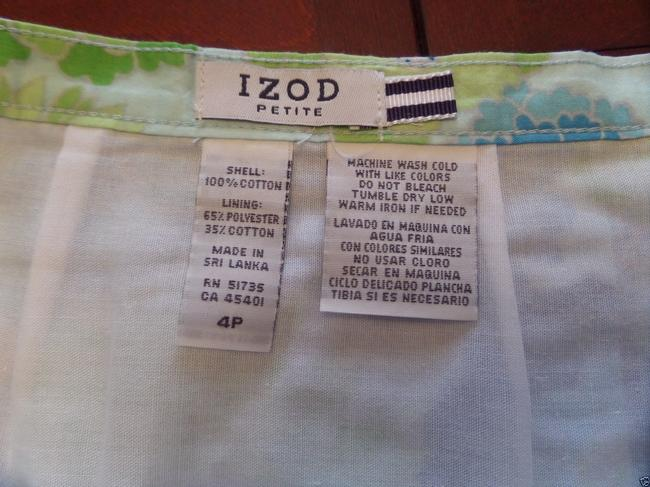 Izod Skirt Blue, Green & White Floral Print