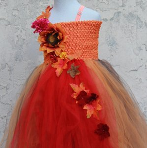 Custom Made Fall Colors Flower Girl Dress - Orange Red Brown Flower Girl Dress - Thanksgiving Dress