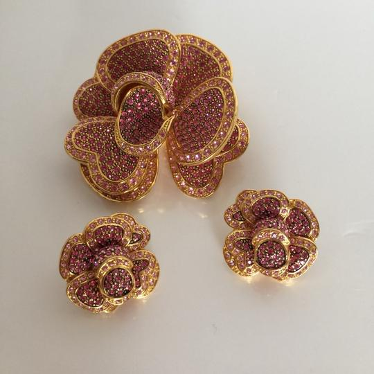 Joan Rivers Joan Rivers Pink Rose Pave Crystals Brooch & Earrings Set