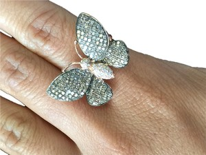 14k rose gold champagne diamond butterfly ring