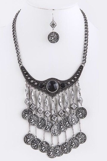 London Wrap/by Zena Design's London Wrap/by Zena Design's/Ornate Collared Coin fringed Bib Necklace Set