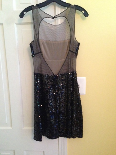 BCBGMAXAZRIA Mesh Cut Outs Backless Homecoming Sequin Dress