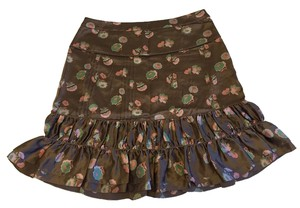 Marc Jacobs Ruffle Silk Skirt Brown with floral pattern