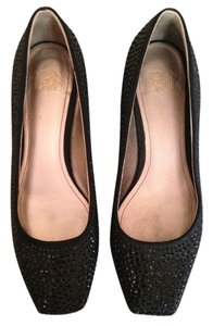 Joan & David Rhinestone Satin Ballet Black Flats