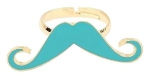 All Around Fem Ye Olde Trendy Mustache Ring Fast Shipping in Turq