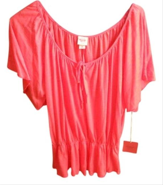 Mossimo Supply Co. Peasant Gathered Drop Waist Tie Scoop Neck Top Salmon
