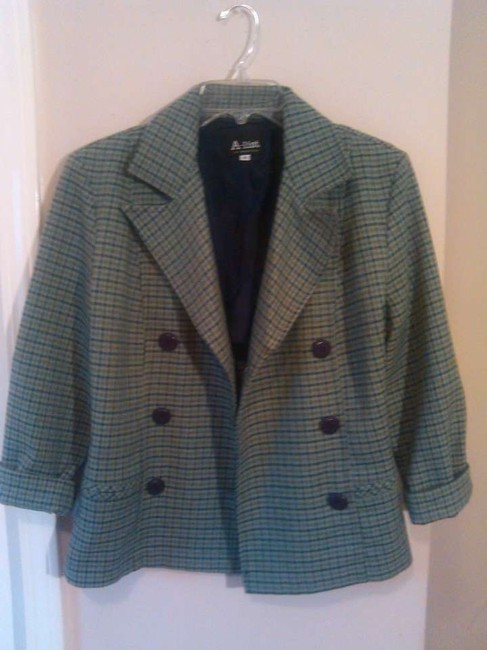 A-List 80s 1980s Jacket Suit Coat Vintage 9 Preppy Classic Poly Career Workplace Work Doublebreasted Buttondown Boho Edgy green, plaid Blazer