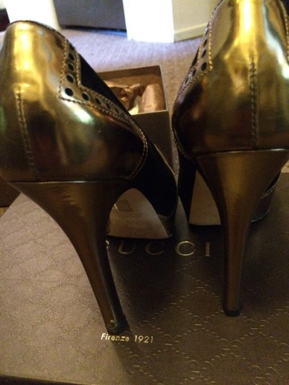 Gucci Mirrored black suede and gold leather Boots