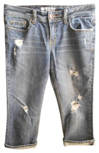 Aéropostale Destroyed Juniors Aero Capris Distressed Capri/Cropped Denim-Medium Wash