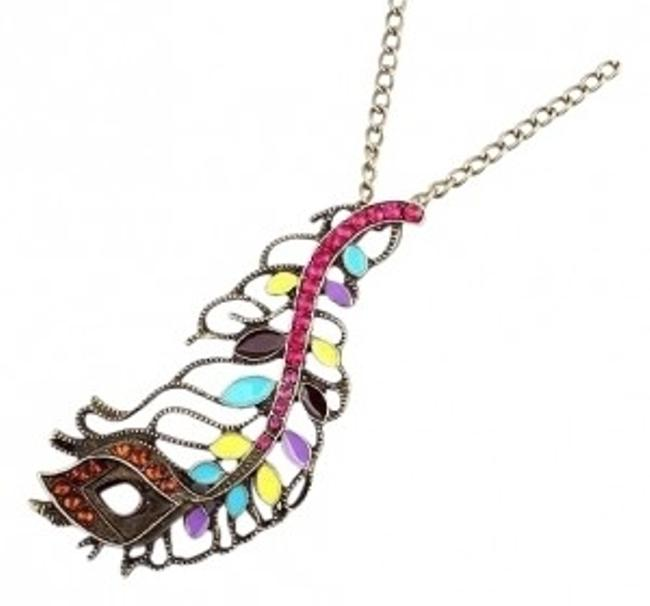 Item - Pink Purple Multi Abstract Peacock Feather Necklace Ring