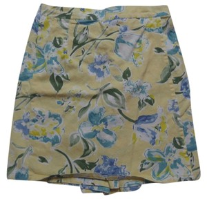 Skort Yellow with Blue & Green Floral Print