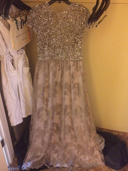 Badgley Mischka Sequin And Lace Ball Gown Dress