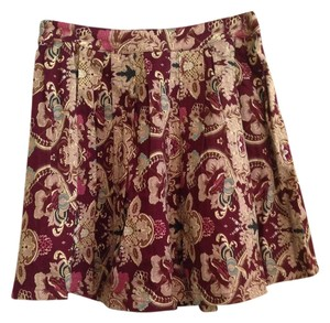 Love Riche Paisley Boutique Skirt Burgundy; Multi