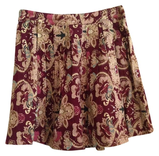 Love Riche Paisley Multi Boutique Mini Skirt Burgundy; Multi