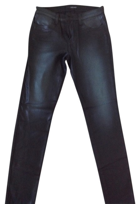 Item - Black Denim Sheer Leather Like Texture Coated Straight Leg Jeans Size 28 (4, S)