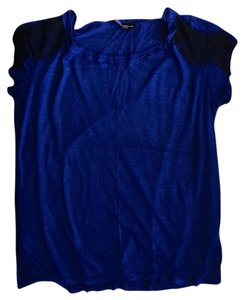 Dorothy Perkins Lace Trim T Shirt Royal Blue