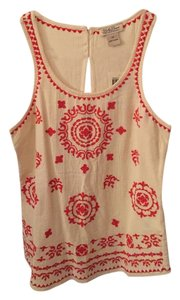 Lucky Brand Aztec Linen Embroidered Top Cream and Orange