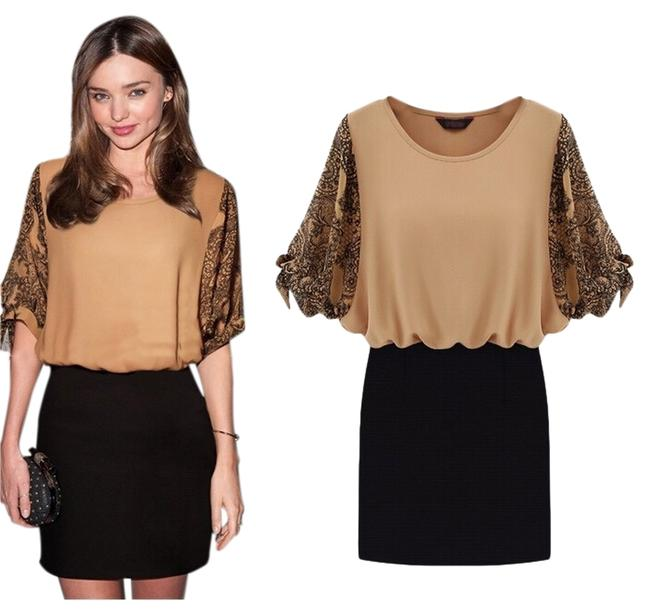 Preload https://item3.tradesy.com/images/khaki-and-black-lace-print-puff-sleeve-short-casual-dress-size-8-m-3076987-0-0.jpg?width=400&height=650