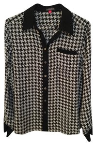 Vince Camuto Houndstooth Top Black and White