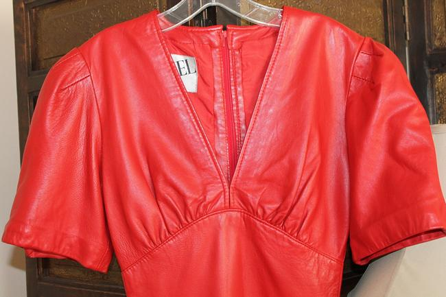 Genel England Leather 1980s Vintage Fitted Dress