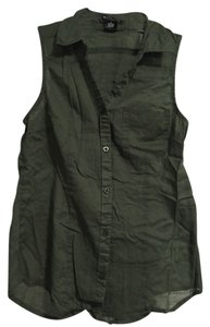 Wet Seal Button Down Shirt Olive Green