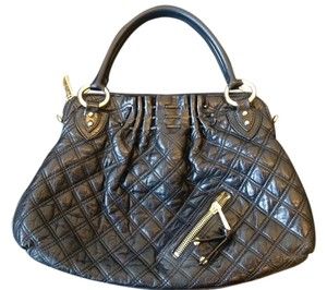 Marc Jacobs Quilted Leather Stam Logo Satchel in Black