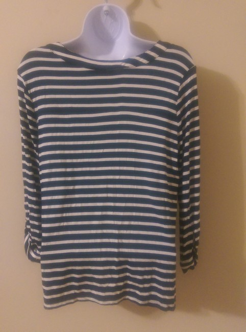 Jaclyn Smith Top Navy Blue / White