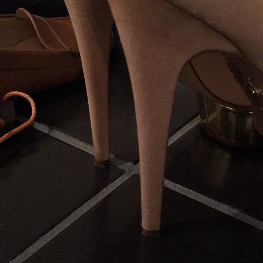 Charlotte Olympia Dolly Suede Nude Pumps