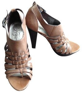 Fergie Strappy Leather Brown Platforms