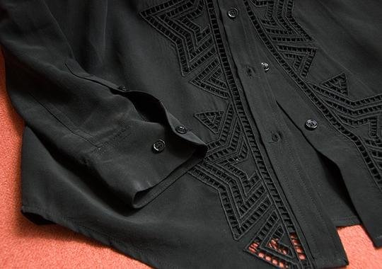 Equipment New $388 Reese Clean Embroidered Shirt In Silk Size Xs Button Down Shirt - 67% Off Retail durable service