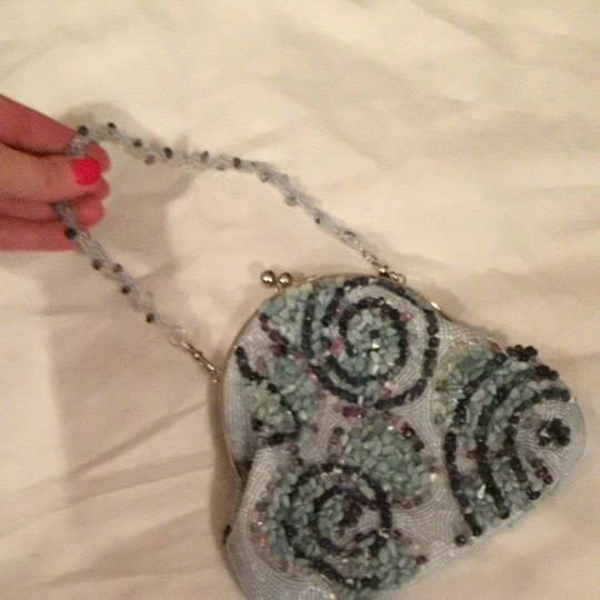 Inge Christopher Beaded Natural Stone Genuine Stones Beach Pale Turquoise Clutch