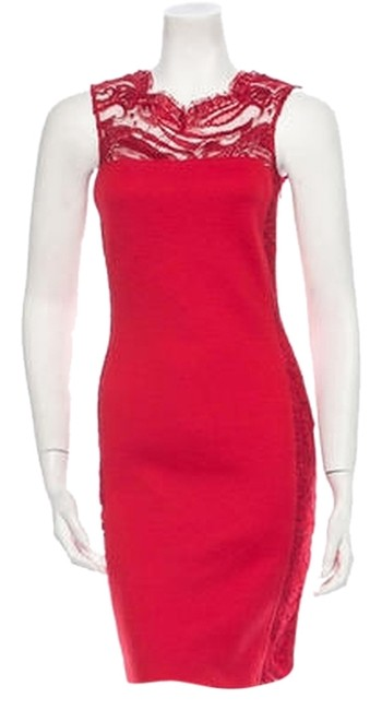 Emilio Pucci Red Wool with Lace Panels Mid-length Cocktail Dress Size 4 (S) Emilio Pucci Red Wool with Lace Panels Mid-length Cocktail Dress Size 4 (S) Image 1