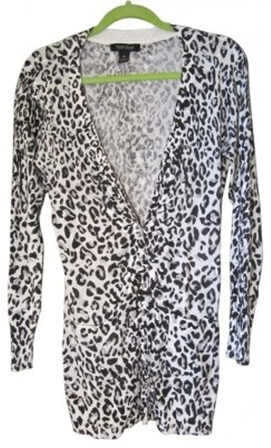 White House | Black Market Metallic Long Leopard Print Cardigan
