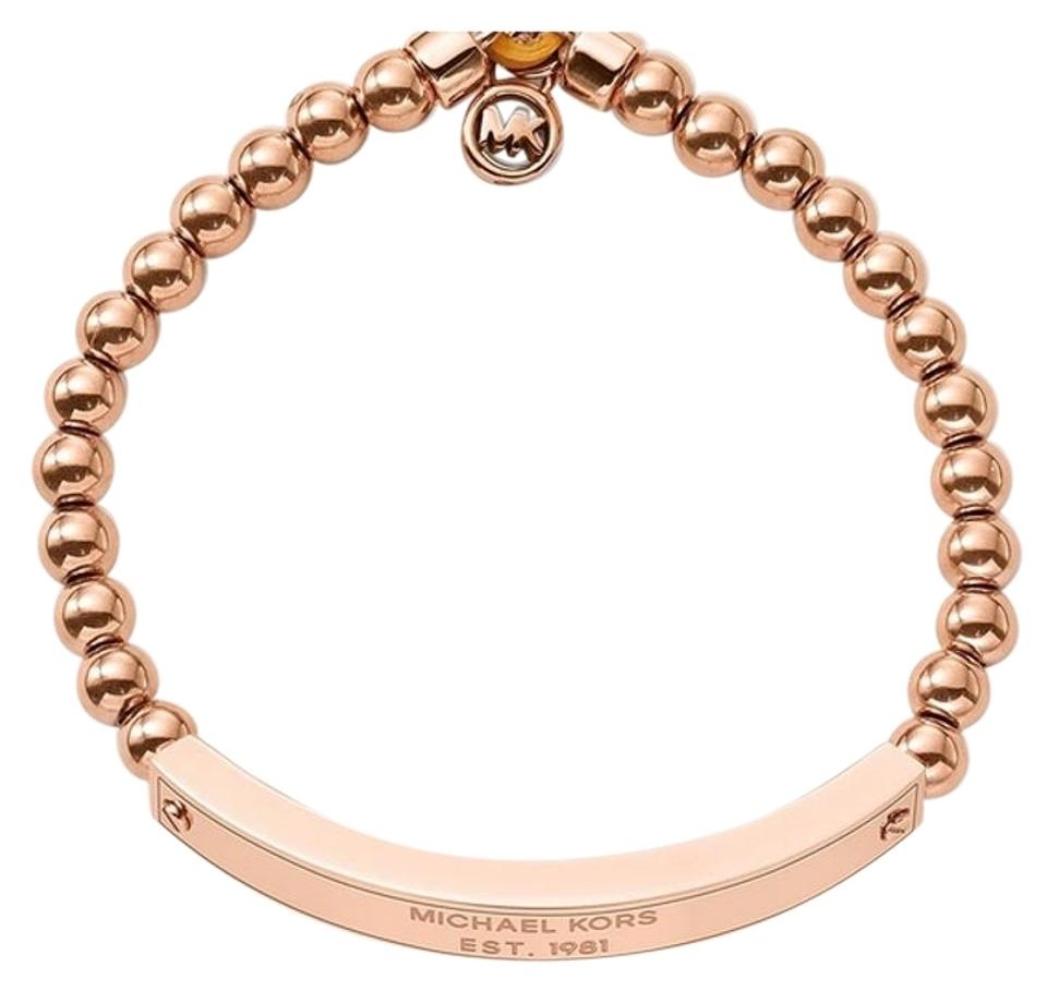 Michael Kors Set Rose Tone Padlock Necklace Logo Plaque Stretch Bracelet