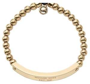 Michael Kors SET-Gold Tone Padlock Necklace & Logo Plaque Stretch Bracelet