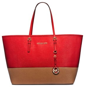 Michael Kors Tote in Red and Luggage