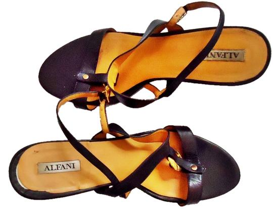 Alfani Strappy Leather Gold Hardware black Platforms