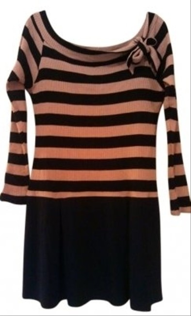 Wishes Wishes Wishes short dress Black and Pink Striped Edgy Large 12 Goth Gothic Rocker Chic Drop Waist Sweater Night Out Girls Wild Bold Bows Scoop Neck Cool Sexy Boho on Tradesy