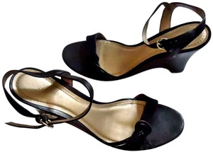 Ann Taylor Leather Suede Wedge Braided Strappy black Sandals